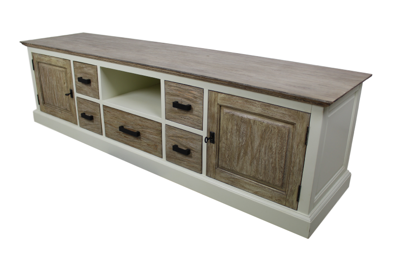TV-dressoir Hampshire 2-deurs - wit/oud rustiek