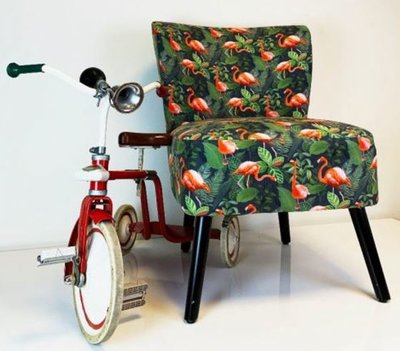 Housevitamin - fauteuil - Flamingo - groen - roze