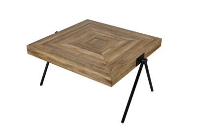 Square medium table - naturel top/zwart frame