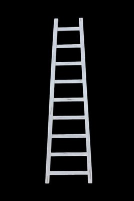 Decoratieve ladder Tangga - 195 cm - wit - teak