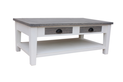 Salontafel Toronto - 120x70 cm - wit/grey wash - java mix wood